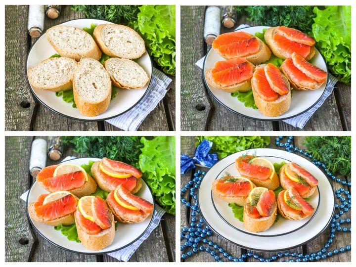 Новогодний бутерброды с красной рыбой