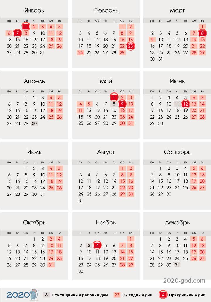 Календарь праздников и выходных для России на 2020 год