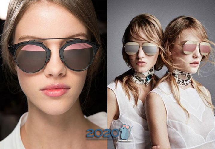 Модные матовые очки 2020 года с полосатыми стеклами