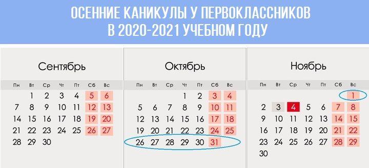 Осенние каникулы у первоклассников в 2020-2021 учебном году