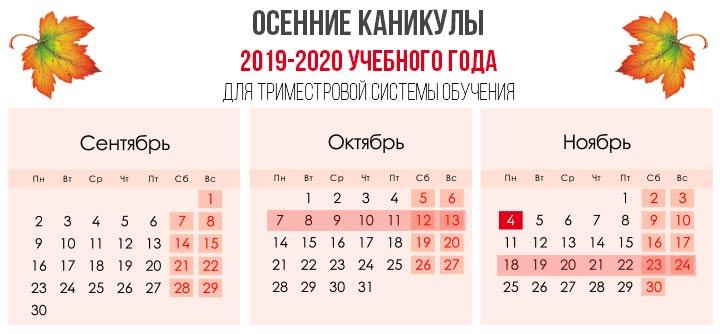 ОÑенние каникулы 2019-2020 учебного года Ð´Ð»Ñ Ñ'римеÑтровой ÑиÑтемы