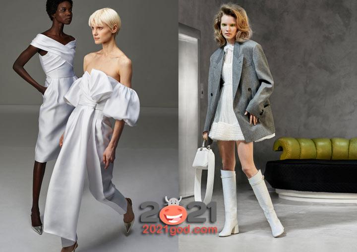 Модное белое платье осень-зима 2020-2021
