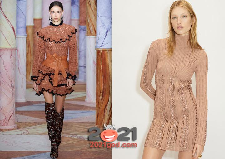 Вязаные коктейльные платья осень-зима 2020-2021