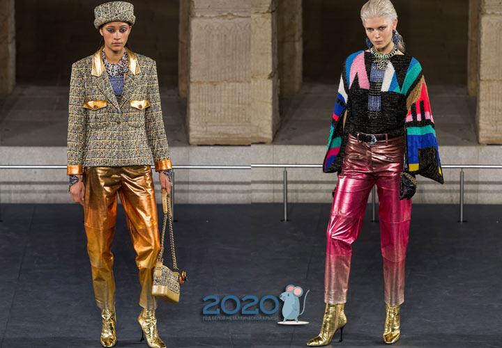 Яркие разноцветные брюки от Шанель на 2020 год