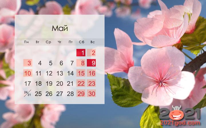 Календарь на май 2021 года