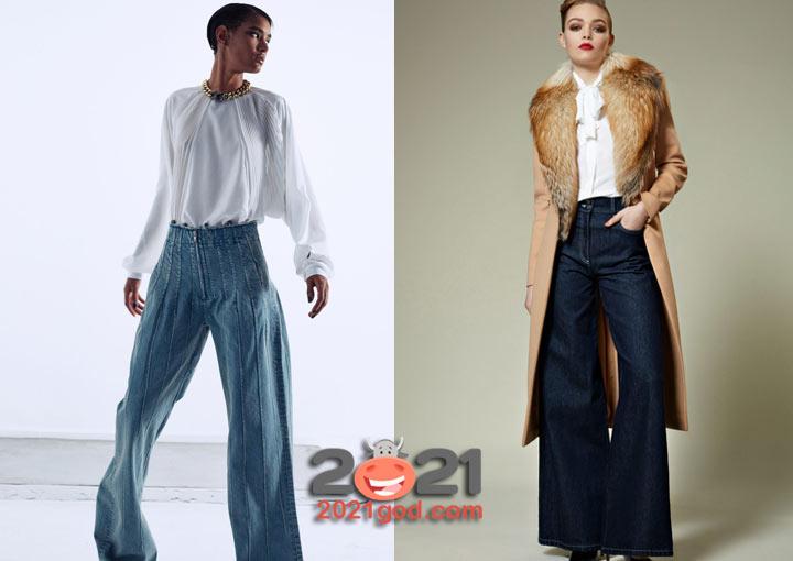 Модные широкие джинсы 2020-2021 года