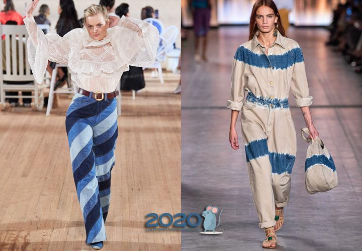 Модные полосатые джинсы весны 2020 года