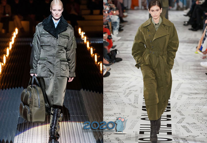 Пальто в стиле милитари зима 2019-2020