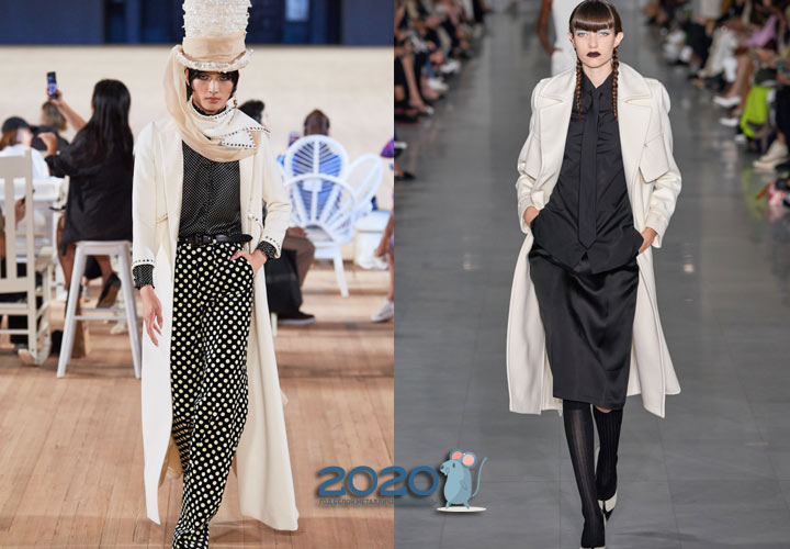 Модное белое пальто весна 2020