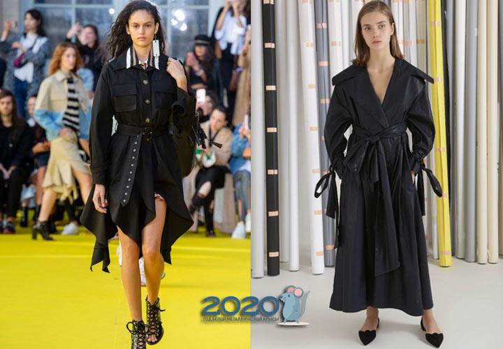 Модный черный плащ сезона осень-зима 2019-2020