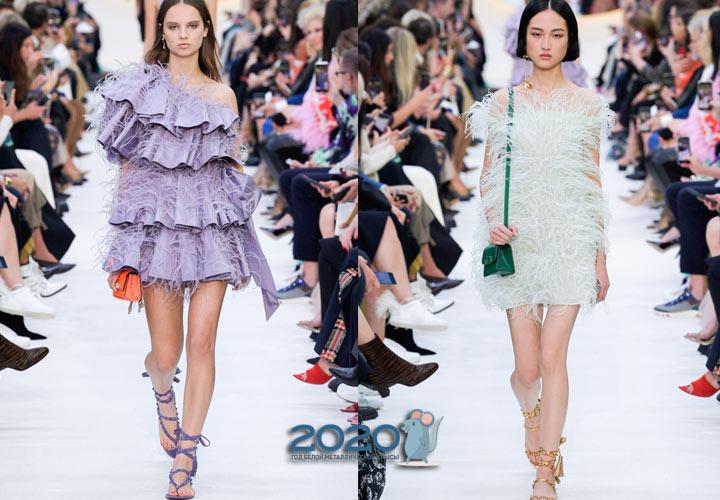 модные платья с перьями сезон весна-лето 2020