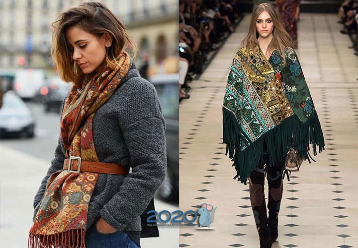 Модный шарф с бахромой