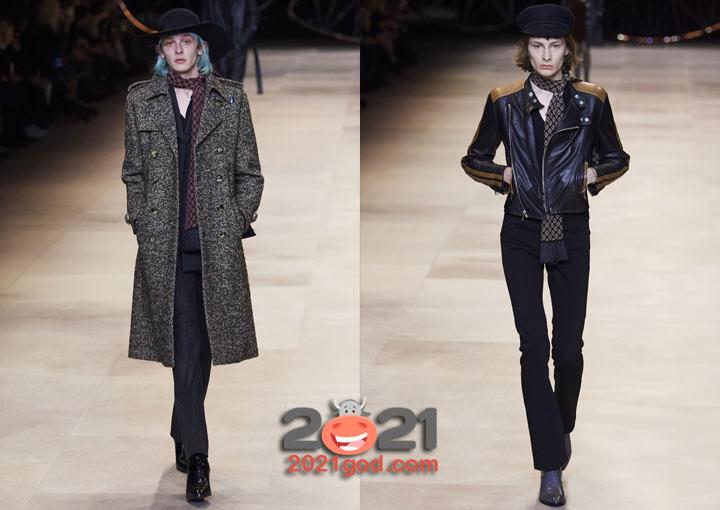 Мужской шарф в женском луке - мода 2021 года