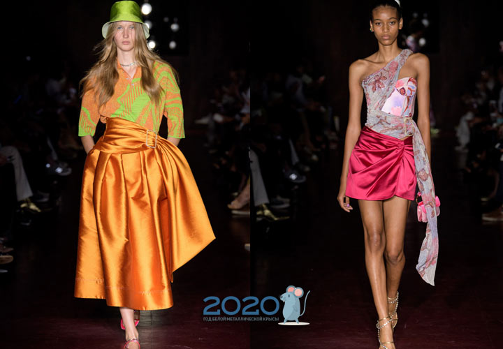 Модные атласные юбки весна-лето 2020
