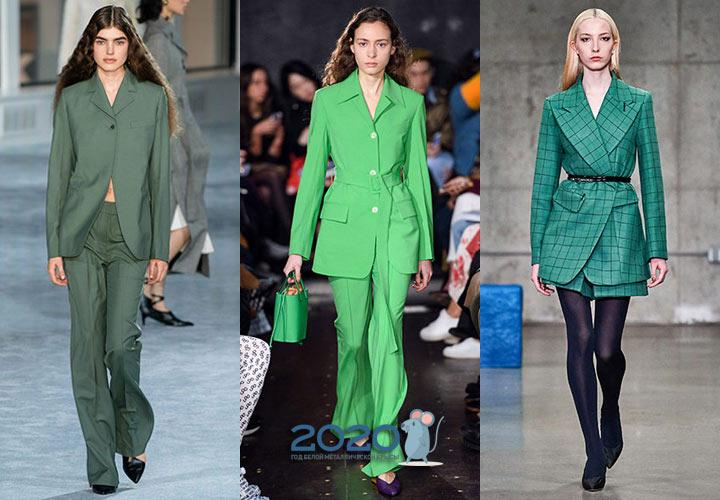 Модные жакеты в зеленом цвете зима 2019-2020
