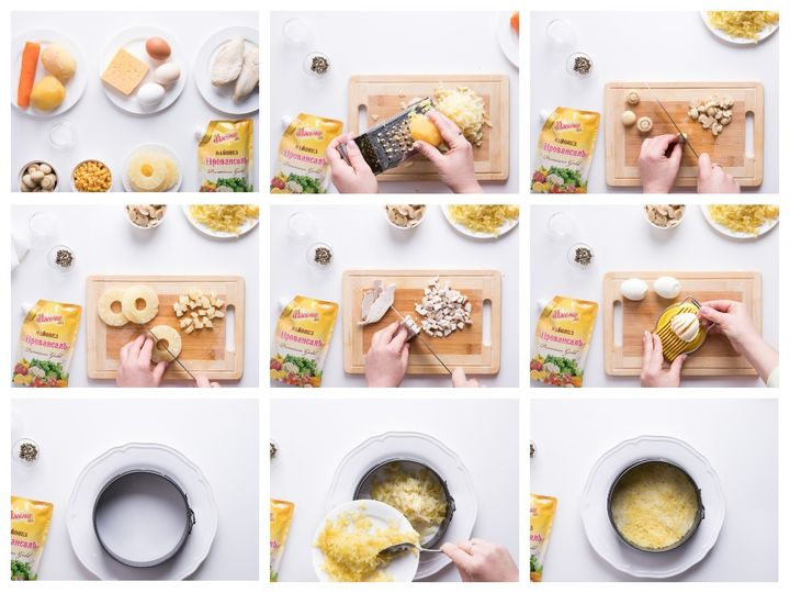 Салат курица и грибы