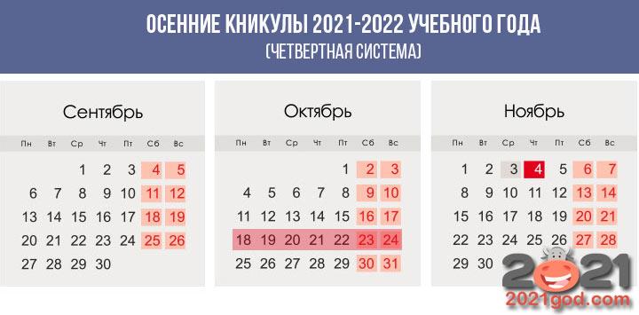 Осенние каникулы 2021-2022 учебного года (четверти)