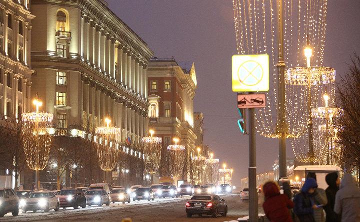 зимняя москва ночью