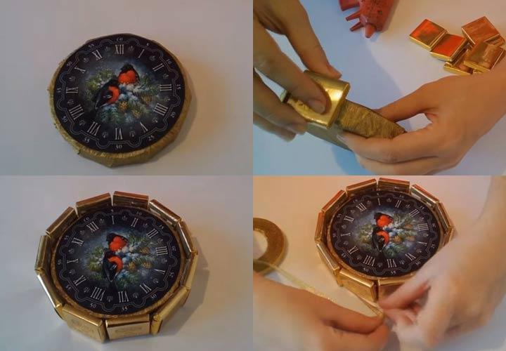 Новогодние часы из конфет пошаговая инструкция шаг 2