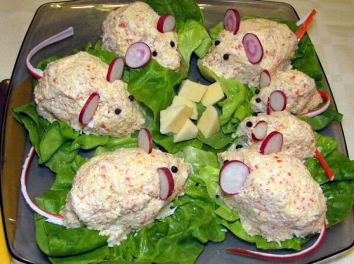 Салат Крыска с крабовыми палочками