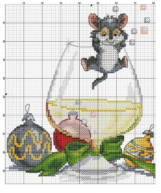 Схема вышивки крестом Крысы — символа 2020 года