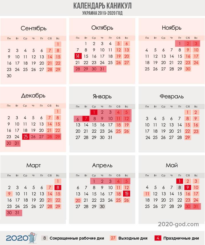 Календарь учителя (график каникул) в Украине на 2019-2020 год