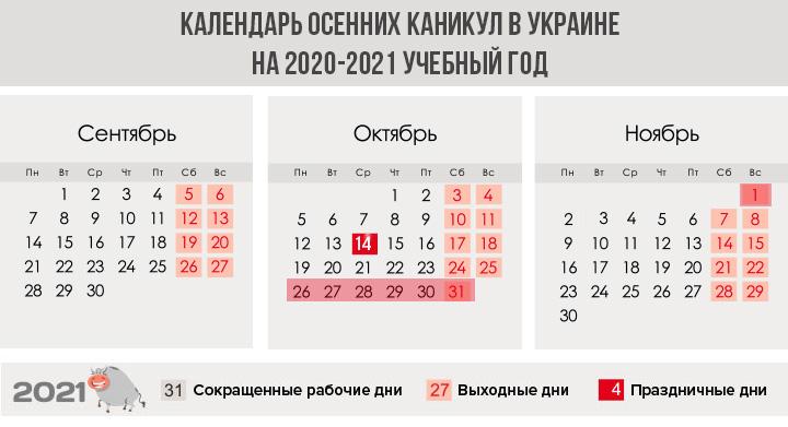 Осенние каникулы в школах Украины в 2020-2021 году