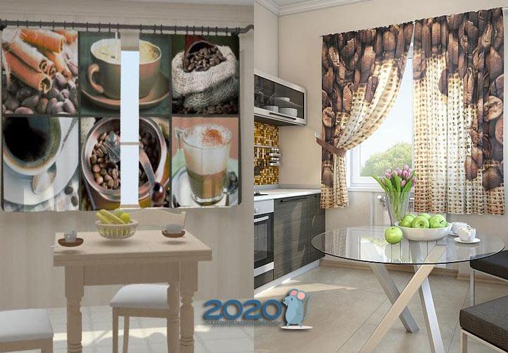 Шторы на кухню 2020 год - кофе