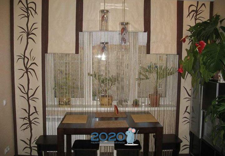 Нитяная штора с японской - декор кухонного окна