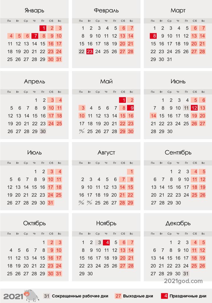 Календарь на 2021 год - сколько дней в феврале, високосный или нет