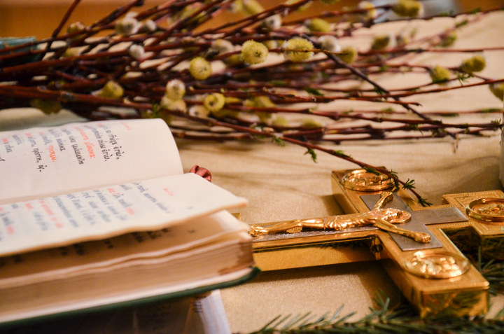 библия и христианский крест на фоне веток вербы