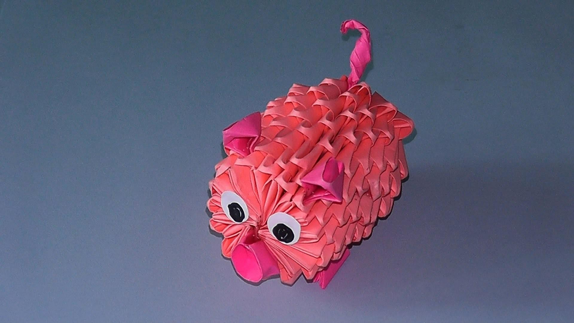 Модульное оригами со Свиньей на Новый 2019 год фото