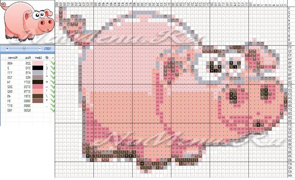 Схема вышивки крестом свиньи – символа 2019 года фото