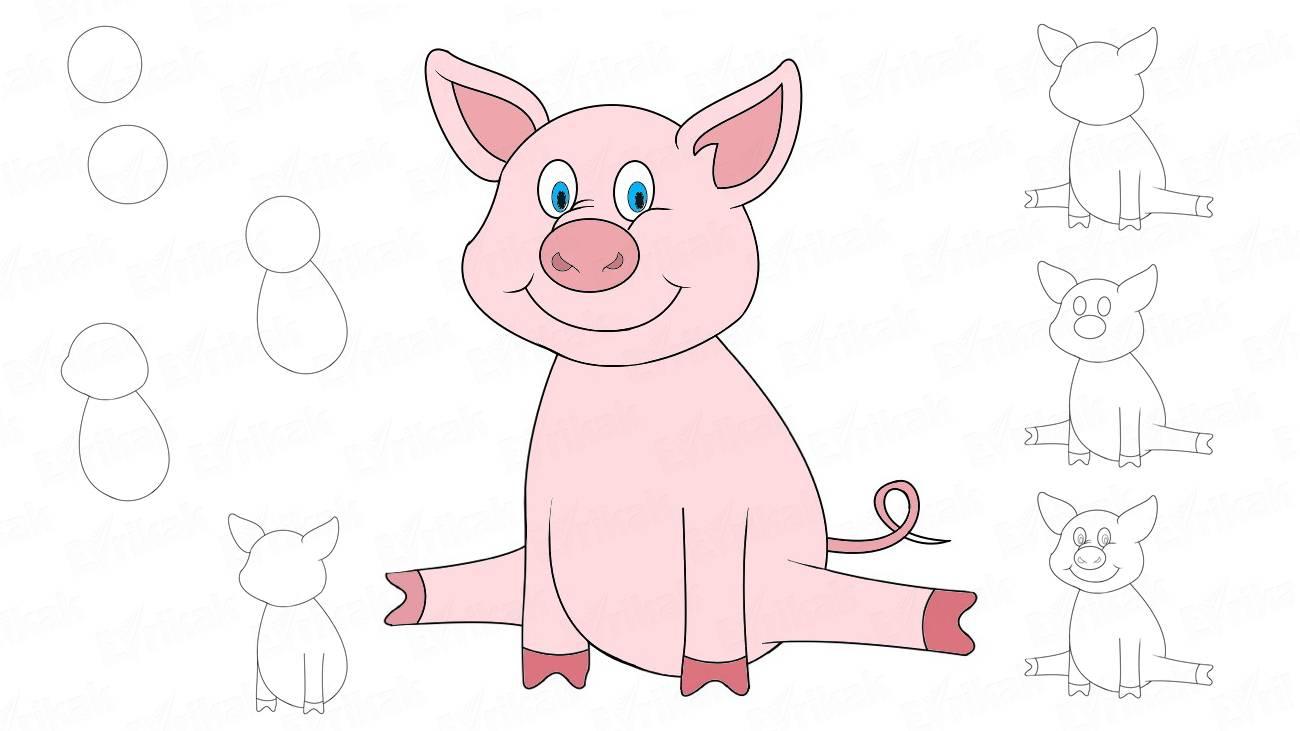 Как нарисовать свинью на Новый 2019 год фото